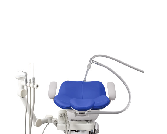 A-dec 300 dental chair with assistants instrumentation and third-hand HVE holder