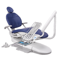 A-dec 300 dental chair with continental delivery system and lever foot control
