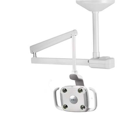 A-dec 500 LED dental light mounted to ceiling