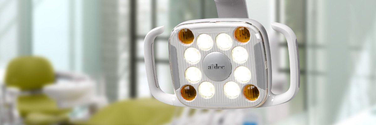 A-dec 500 LED dental light in operatory