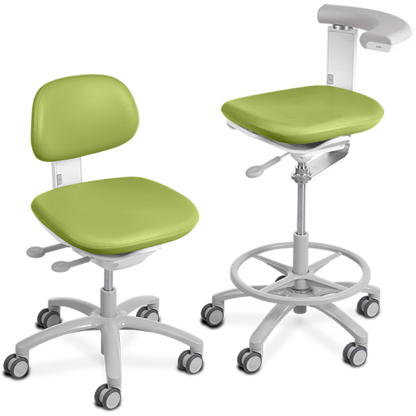 A-dec 500 dental stool with parrot upholstery