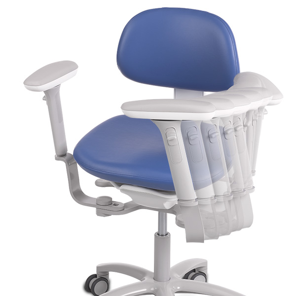 A-dec 500 dental stool with swing out arm rests