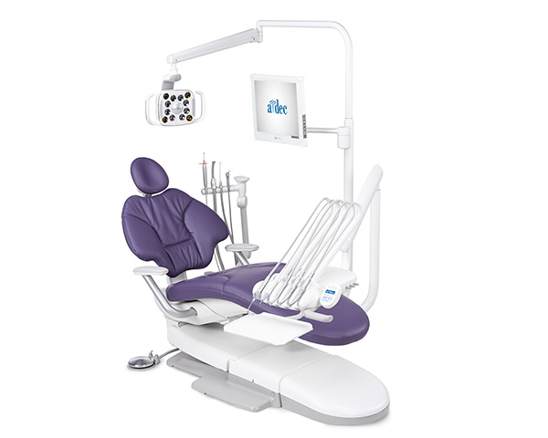A-dec 400 radius operatory package with plum sewn upholstery