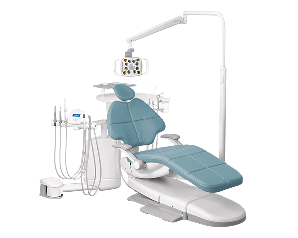 A-dec 500 dental chair  with Cyan upholstery and dental delivery system
